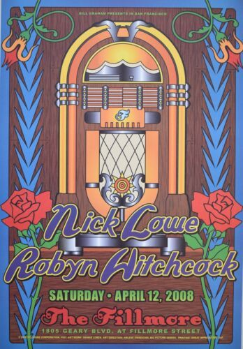 Nick Lowe Concert Poster F937 Fillmore Visible Vibrations Concert Posters Nick Lowe Fillmore