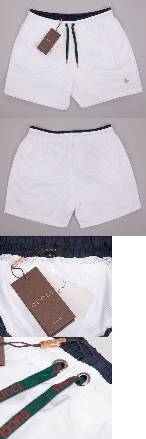 b2e08b2187 Swimwear 15690: Gucci Swim Shorts, Mens White Swim Trunks With Bee  Embroidery ->