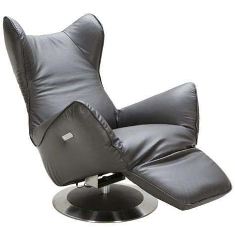 Phenomenal Divani Casa Manitoba Modern Grey Leather Electric Recliner Dailytribune Chair Design For Home Dailytribuneorg