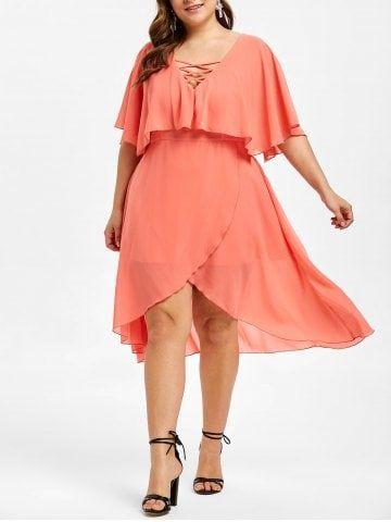 a7102956dfc67 Flounce Lattice Plus Size Asymmetrical Dress in 2019 | Dresses ...
