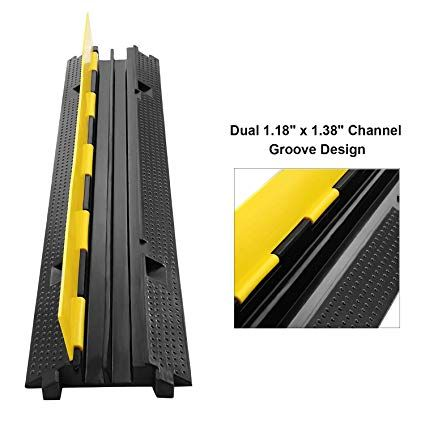 Amazon Com Reliancer 3 Pack Dual Channel Rubber Cable Protector Ramp 2 Channel Traffic Speed Bump 11000lbs Capacit Cable Protector Floor Cord Cover Speed Bump