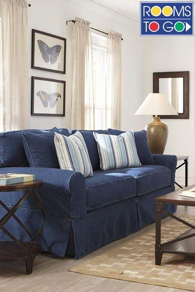Blue denim sofa slipcover from Twill Slipcover Studio slipcovers
