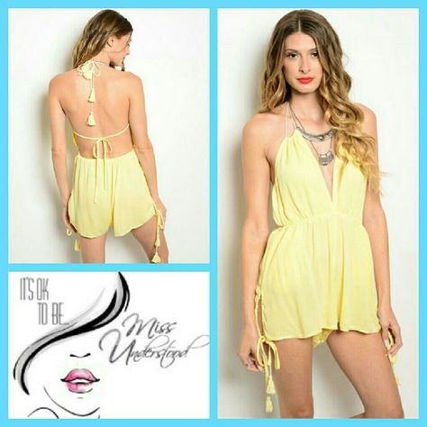 d6f08118168 Pastel Yellow Romper Stay cool this summer in this trendy romper. Beautiful  pastel yellow color and detailed with tassels on the tie closures.