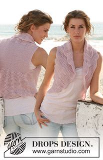 "Knitted DROPS vest with wavy pattern in ""Alpaca"" and ""Kid-Silk"". Size: S - XXXL. ~ DROPS Design"