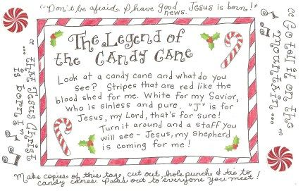 legend of the candy cane - free printable tag to attach to candy canes and pass out to everyone!