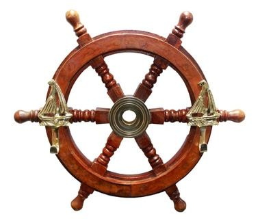 Decorative Wooden Ship Wheel Coat Hanger 12 Brass Decor Maritime Decor Pirate Decor