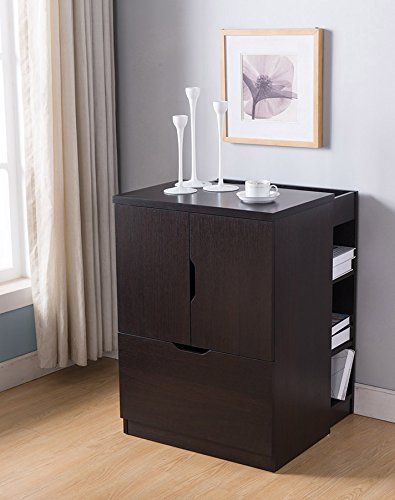 Smart Home 161738 Espresso Printer Stand File Cabinet Lateral Credenza Includes 2 Electrical Inputs An Filing Cabinet Wooden File Cabinet Contemporary Cabinets