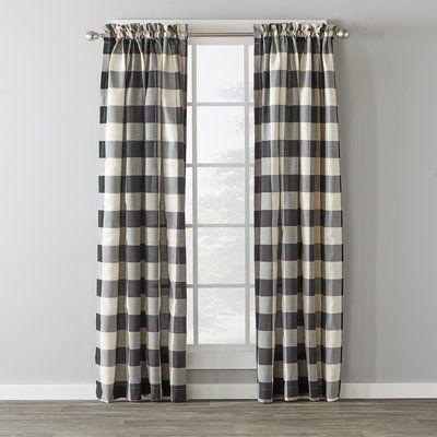 August Grove Northridge Plaid Semi Sheer Rod Pocket Curtain Check Curtains Buffalo Check Curtains Panel Curtains
