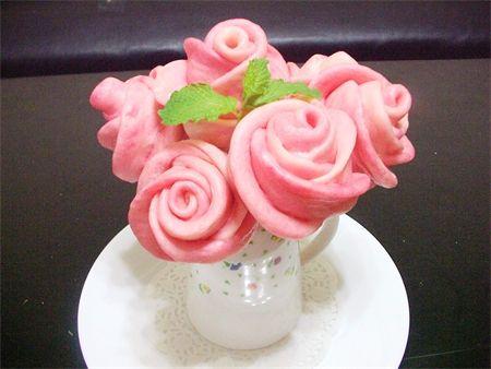 玫瑰花造型饅頭  rose shaped steamed bun