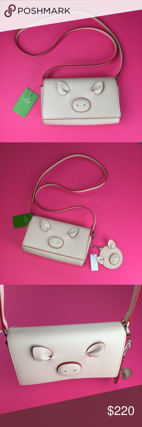 Kate Spade Year of the Pig Addison Cross Body Bag NWT Kate Spade Year of the Pig Addison Leather Cross Body Bag Warm Vellum Pink  **Pig key chain not included***  • smooth double facedleather • capital kate jacquard lining • cross body wallet with snap on flap closure • 6 credit card slots, 1 billfold and zipper change pocket • exterior slip pocket • gold foil embossed kate spade new york signature • 7.5