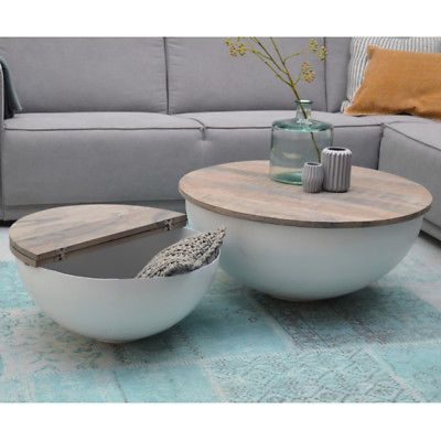 Couchtisch Bowl Sophie Metall Weiss Mango Massiv Beistelltisch Sofatisch Tisch