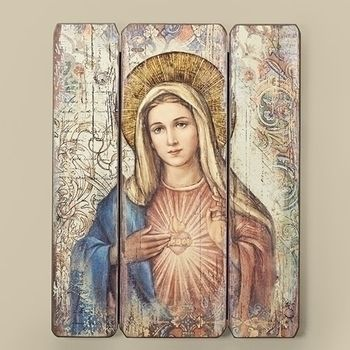 Sacred Heart of Mary Mother of God and Baby Jesus Wall Tapestry with Crosses