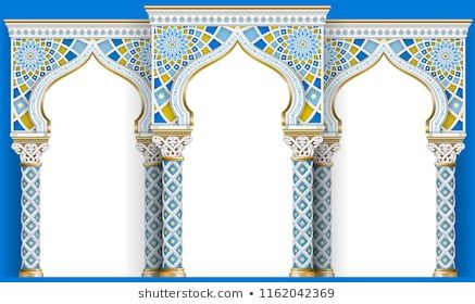 The Eastern Arch Of The Mosaic Carved Architecture And Classic Columns Indian Style Decorative Architectural Frame In Vector G Architecture Islamic Art Arch