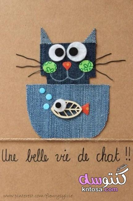 ابداعات يدوية من قماش الجينز للاطفال افكار لعمل حيوانات من الجينز مع بعض الصور التعليمية لطريقةعملها Kntosa Com 09 19 1 Felt Crafts Cards Handmade Fabric Cards