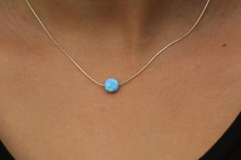 Custom Opal Bead Necklace Blue Opal Gold Filled Chain