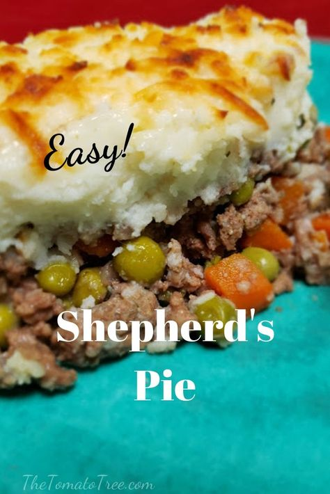 A hearty comfort food made with beef and vegetables combined together in gravy. The top of this dish is covered with a generous layer of whipped potatoes and baked until bubbling hot. #shepherd's pie, #cottage pie, #ground beef, #vegetables, #potato topping, #casserole, #easy beef recipe