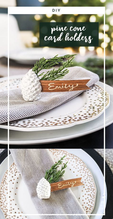 SO EASY! These white concrete place card holders can be whipped up for a holiday dinner in no time! They can also make great settings for weddings and use an inexpensive supply list that can be picked up at craft and home improvement stores. Get the details for the DIY. #concrete #pinecone #holidaytable #tabledecorating #christmas #christmasDIY #placecardholders #tablesetting #namecardholder #christmastable #cement