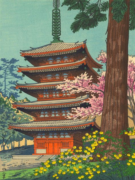 Asano Takeji Spring in Daigoji Temple Vintage Japanese Woodblock Print Detailed East Asian Art Art Print