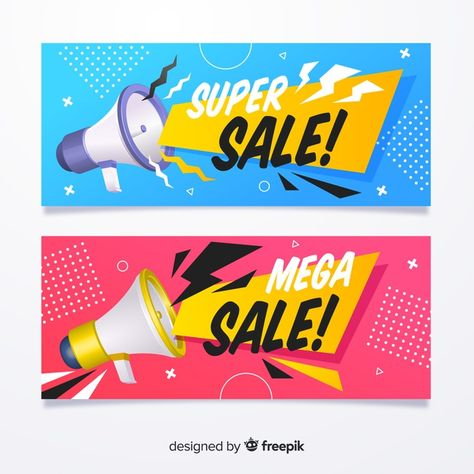 Flat sale banner with realistic objects