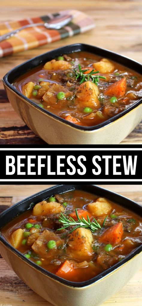 Vegetarian Recipes Discover BEEFLESS STEW This generous stew incorporates huge pieces of potato carrot celery and onion and portabella mushrooms remain in for the hamburger. Tasty Vegetarian Recipes, Vegetarian Main Dishes, Vegan Soups, Easy Soup Recipes, Vegan Dinner Recipes, Vegetarian Recipes Dinner, Veg Recipes, Veggie Dishes, Vegan Dinners