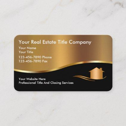 Classy Title Company Gold House Business Cards Zazzle Com Real