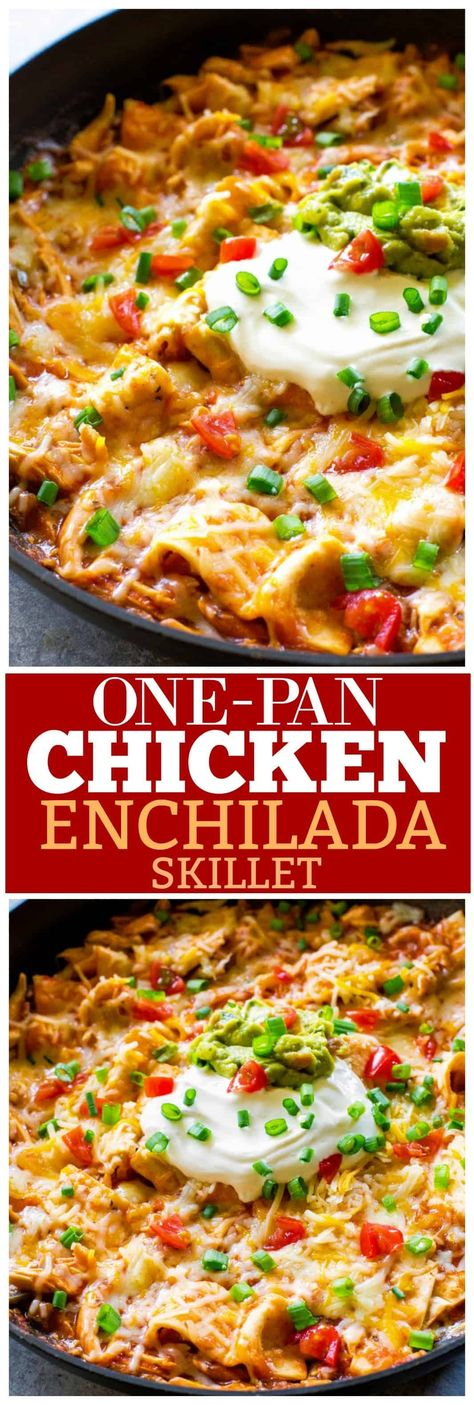 This easy One Pan Chicken Enchilada Skillet can be ready in 10 minutes! Seriously such a tasty Mexican dinner recipe. ~ the-girl-who-ate-everything.com #mexicanrecipes