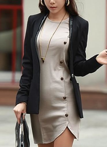 6b04a4e06c Buttons Design Long Sleeve Round Collar Solid Colour Pullover Dress ...