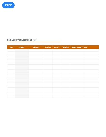 Self Employed Expense Sheet Template Excel Word Apple Numbers Apple Pages Template Net Expense Sheet Templates Template Design