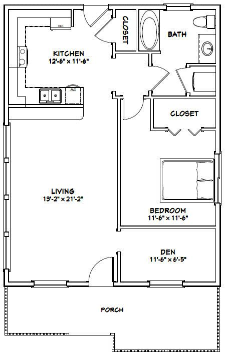 26x34 House 26x34h1c 884 Sq Ft Excellent Floor Plans Guest House Plans One Bedroom House Small House Floor Plans