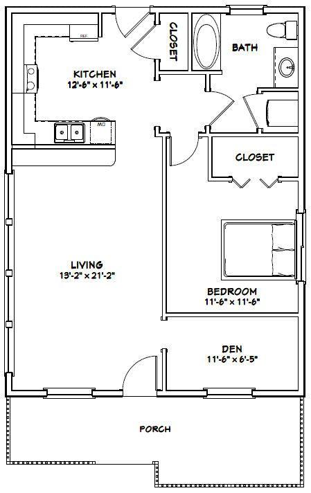 26x34 House 26x34h1c 884 Sq Ft Excellent Floor Plans Small House Floor Plans One Bedroom House Plans One Bedroom House