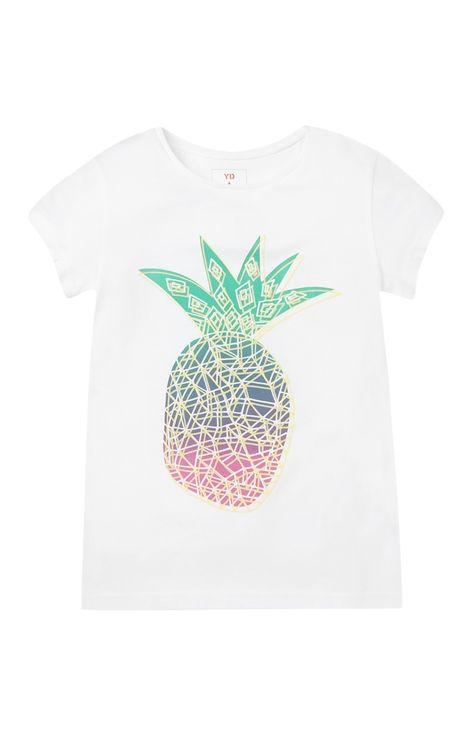 Primark - T-shirt blanc à imprimé ananas