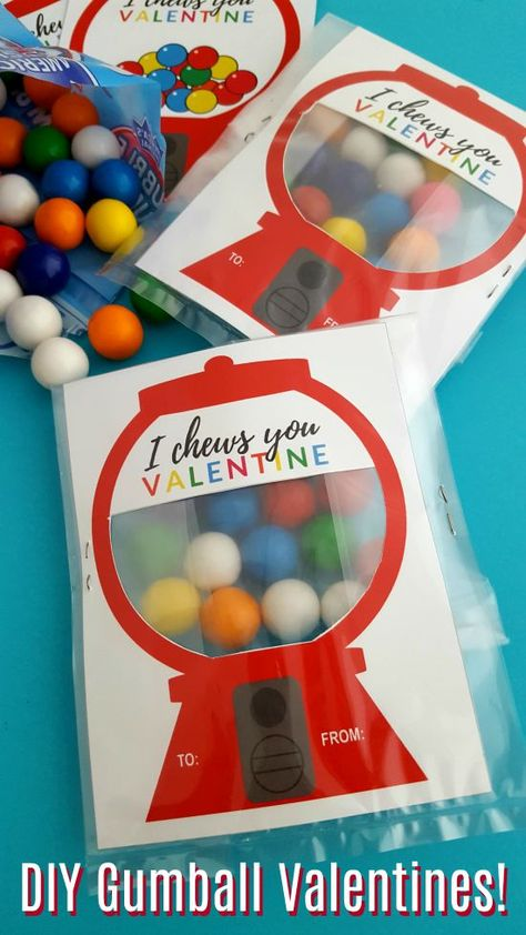 Hooray for Valentine's Day! We are all ready to celebrate this year with some super fun DIY Gumball Machine Valentines! Why do we love these Valentines? For starters, they're super cute. Next up, they are SUPER easy to put together. AND by adding some gumballs, it's a valentine and a treat all in one! #ValentinesDay #DIYValentines #Valentines #crafts #ValentineCrafts #printables