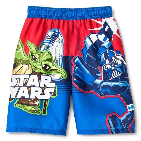 d1b26d2594 Star Wars Boys' Swim Trunks Blue/Red 4T, Toddler Boy's, Multi - Colored