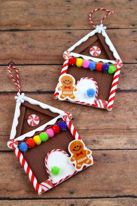 Popsicle Stick Gingerbread House Homemade Ornaments | Little ones will love making these bright and cheerful DIY Christmas ornaments!
