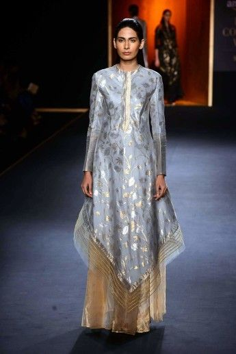 RAHUL MISHRA Ice Grey hand woven kamal jaal assymetric dress kurta with gold palazzo