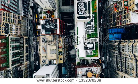 Stock Photo Aerial View Of New York Downtown Building Roofs With Water Towers Bird S Eye View From Helicopter Of Cit Building Roof Birds Eye View Water Tower