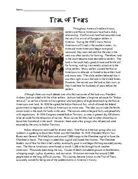 Trail Of Tears Reading Comprehension Worksheet With Images