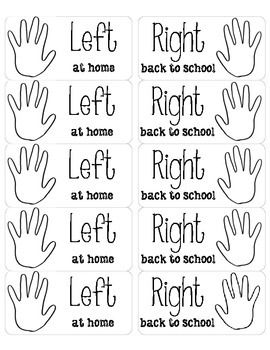 """This are ready to print on shipping labels. I put these in students' take home folder so they know what papers go where. They say """"Left at home"""" and """"Right back to school""""."""