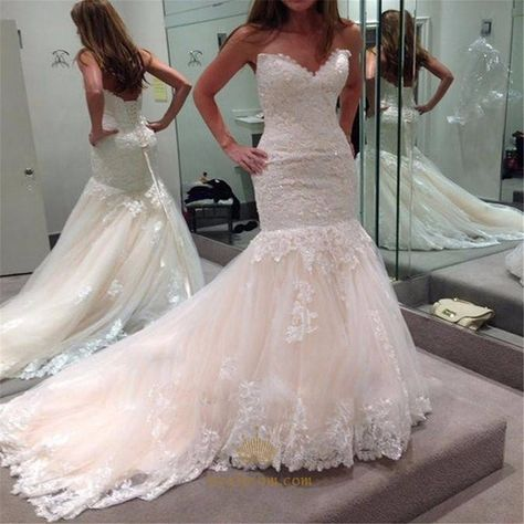 b7ba15e684f NextProm.com Offers High Quality Ivory Strapless Lace Embellished Tulle  Sheath Wedding Dress With Train