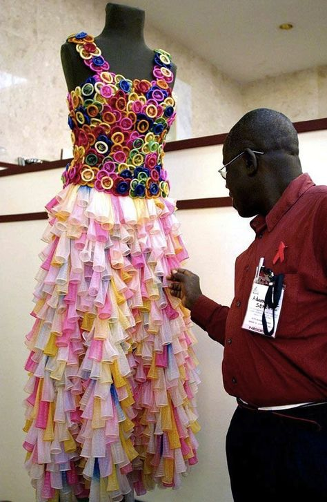 Wedding Dress Made of Condoms (to raise awareness of HIV and AIDS in Africa)