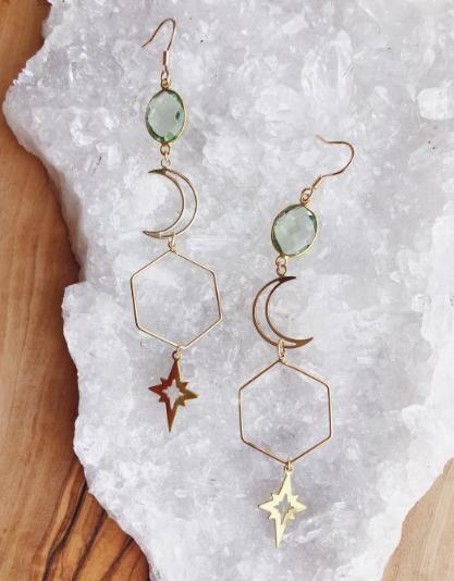 SisteBr irthday Gifts Hematite Star Earrings Gold Dangle Earrings For Women Celestial Jewelry Sister Small Gifts Bohemian Jewelry