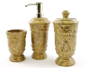 fossil stone bathroom waste basket we bring you accessories made from this rare stone these items are hand carved and polished and are work of aru2026