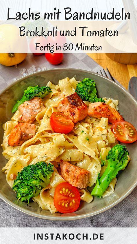 Cremige Lachs Pasta mit Brokkoli und Tomaten ist ein sehr einfaches aber unwiderstehlich leckeres Gericht. Lachs und Pasta sind ein absolutes Traumpaar auf dem Teller. Mit meinem einfachen Rezept hast du dieses tolle Gericht in nur 30 Minuten auf den Tisch gezaubert. #pasta #nudeln #fisch #lachs #familienessen