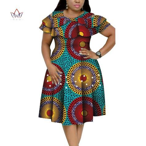 New Bazin Riche African Ruffles Collar Dresses for Women Dashiki Print