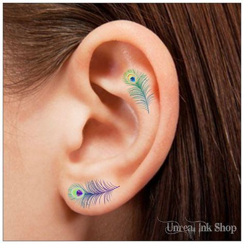 Temporary Tattoo 16 Peacock Feather Ear Tattoos by UnrealInkShop