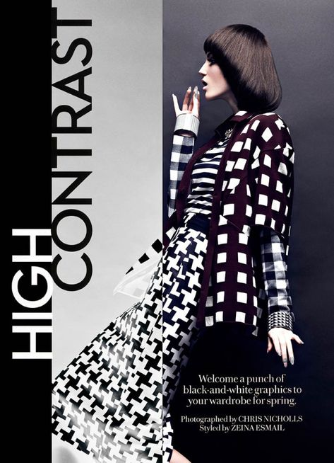 Graphic Patterned Fashion - The Fashion Magazine 'High Contrast' Editorial Stars Samantha Rayner (GALLERY)