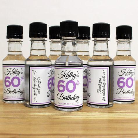Custom Mini Bottle Labels Birthday Favors Adult By LiquidCourage 2500