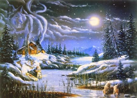 Wolf Illusions Desktop Nexus Wallpapers Hidden Art Free Winter Wallpaper Night Art