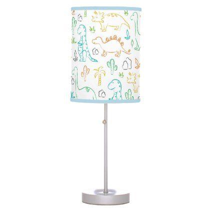 Cute Dinosaur Kids Pattern On White Table Lamp Zazzle Com White Table Lamp Table Lamp Kids Patterns