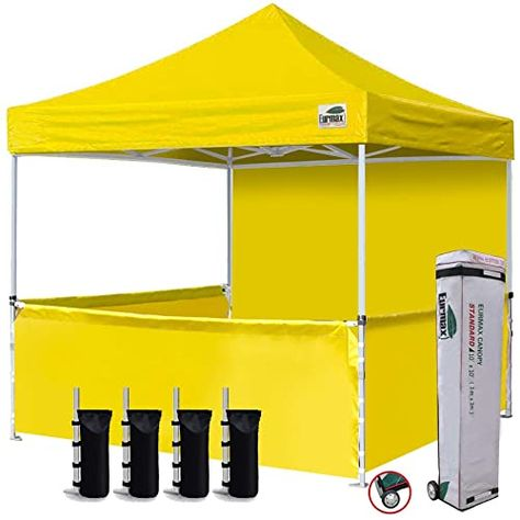 Amazing Offer On Eurmax 10 X10 Ez Pop Up Booth Canopy Tent Commercial Instant Canopies 1 Full Sidewall 3 Half Walls Roller Bag Bonus 4 Sandbags 3 Cross Bar Yellow Online Canopy